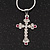 Small Diamante Cross Pendant Necklace In Rhodium Plated Metal - 40cm Length & 4cm Extension