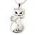 Rhodium Plated Diamante 'Cat' Pendant Necklace - 40cm Length & 4cm Extension - view 4
