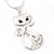 Rhodium Plated Diamante 'Cat' Pendant Necklace - 40cm Length & 4cm Extension - view 5
