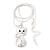 Rhodium Plated Diamante 'Cat' Pendant Necklace - 40cm Length & 4cm Extension - view 6