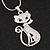 Rhodium Plated Diamante 'Cat' Pendant Necklace - 40cm Length & 4cm Extension - view 2