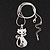 Rhodium Plated Diamante 'Cat' Pendant Necklace - 40cm Length & 4cm Extension - view 3