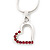 Small Pink Crystal Open Heart Pendant Necklace In Rhodium Plated Metal - 40cm Length & 4cm Extension - view 2