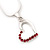 Small Pink Crystal Open Heart Pendant Necklace In Rhodium Plated Metal - 40cm Length & 4cm Extension - view 5
