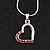 Small Pink Crystal Open Heart Pendant Necklace In Rhodium Plated Metal - 40cm Length & 4cm Extension - view 3
