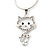 Sweet Open Crystal 'Kitty' Pendant Necklace In Rhodium Plated Metal - 40cm Length & 4cm Extension - view 4