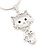 Sweet Open Crystal 'Kitty' Pendant Necklace In Rhodium Plated Metal - 40cm Length & 4cm Extension - view 5
