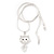 Sweet Open Crystal 'Kitty' Pendant Necklace In Rhodium Plated Metal - 40cm Length & 4cm Extension - view 6