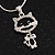 Sweet Open Crystal 'Kitty' Pendant Necklace In Rhodium Plated Metal - 40cm Length & 4cm Extension - view 2