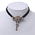 Vintage Diamante 'Rose' Choker Necklace On Black Velour Cord In Silver Finish - 29cm Length with 8cm extension - view 10