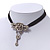 Vintage Diamante 'Rose' Choker Necklace On Black Velour Cord In Silver Finish - 29cm Length with 8cm extension - view 4