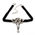 Vintage Diamante 'Rose' Choker Necklace On Black Velour Cord In Silver Finish - 29cm Length with 8cm extension - view 8