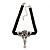 Vintage Diamante 'Rose' Choker Necklace On Black Velour Cord In Silver Finish - 29cm Length with 8cm extension - view 7