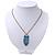 Vintage Blue Enamel 'Owl' Pendant Necklace In Burn Gold Metal - 44cm Length - view 4