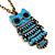 Vintage Blue Enamel 'Owl' Pendant Necklace In Burn Gold Metal - 44cm Length - view 3