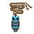 Vintage Blue Enamel 'Owl' Pendant Necklace In Burn Gold Metal - 44cm Length - view 2