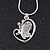 Diamante 'Butterfly In The Heart' Pendant Necklace In Silver Plating - 40cm Length/ 4cm Extension