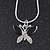 Tiny Crystal 'Butterfly' Pendant Necklace In Silver Plating - 40cm Length/ 4cm Extension - view 2