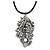 Burn Silver Large Diamante 'Feather' Pendant On Black Leather Cord Necklace - 38cm Length/ 7cm Extension