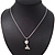Cute Clear Diamante 'Cat' Pendant Necklace In Silver Plating - 40cm Length - view 4