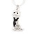 Cute Clear Diamante 'Cat' Pendant Necklace In Silver Plating - 40cm Length - view 3