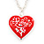 Silver Plated Red 'Heart' Locket Pendant Necklace - 44cm Length/ 4cm Extension - view 5