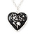 Silver Plated Black 'Heart' Locket Pendant Necklace - 44cm Length/ 4cm Extension - view 4