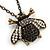 Long Vintage Diamante 'Bee' Pendant Necklace In Bronze Finish - 76cm Length/ 3cm Extension - view 3