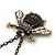 Long Vintage Diamante 'Bee' Pendant Necklace In Bronze Finish - 76cm Length/ 3cm Extension - view 4