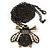 Long Vintage Diamante 'Bee' Pendant Necklace In Bronze Finish - 76cm Length/ 3cm Extension - view 2
