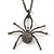 Shimmering Dim Grey Crystal Spider Pendant Necklace In Gun Metal - 60cm Length