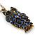 Long Blue Diamante Cute Owl Pendant In Antique Gold Plating - 70cm Length/ 10cm Extension - view 3