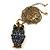 Long Blue Diamante Cute Owl Pendant In Antique Gold Plating - 70cm Length/ 10cm Extension - view 2
