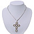 Simulated Pearl and Swarovski crystal 'Vaticana' Statement Cross Pendant and Chain (Silver Plating) - 36cm Length/ 8cm Extension - view 4