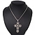Simulated Pearl and Swarovski crystal 'Vaticana' Statement Cross Pendant and Chain (Silver Plating) - 36cm Length/ 8cm Extension - view 6
