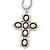 Simulated Pearl and Swarovski crystal 'Vaticana' Statement Cross Pendant and Chain (Silver Plating) - 36cm Length/ 8cm Extension - view 2