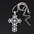 Simulated Pearl and Swarovski crystal 'Vaticana' Statement Cross Pendant and Chain (Silver Plating) - 36cm Length/ 8cm Extension - view 3