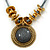 Vintage Slate Grey 'Medallion' Pendant Necklace On Leather Style Cords In Burn Gold Metal - 38cm Length/ 7cm Extension