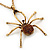Shimmering Amber Coloured Crystal Spider Pendant Necklace In Antique Gold Tone Metal - 60cm Length - view 2