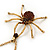 Shimmering Amber Coloured Crystal Spider Pendant Necklace In Antique Gold Tone Metal - 60cm Length - view 3