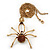 Shimmering Amber Coloured Crystal Spider Pendant Necklace In Antique Gold Tone Metal - 60cm Length - view 4