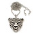 Exotic Swarovski Crystal 'Tiger' Pendant In Rhodium Plating - 74cm Length/ 9cm Extension - view 3
