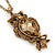 Long Champagne CZ 'Owl' Pendant Necklace In Gold Plating - 72cm Length/ 7cm Extension - view 5