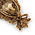 Long Champagne CZ 'Owl' Pendant Necklace In Gold Plating - 72cm Length/ 7cm Extension - view 4