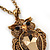 Long Champagne CZ 'Owl' Pendant Necklace In Gold Plating - 72cm Length/ 7cm Extension - view 3