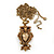 Long Champagne CZ 'Owl' Pendant Necklace In Gold Plating - 72cm Length/ 7cm Extension - view 2
