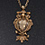 Long Champagne CZ 'Owl' Pendant Necklace In Gold Plating - 72cm Length/ 7cm Extension - view 8