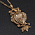 Long Champagne CZ 'Owl' Pendant Necklace In Gold Plating - 72cm Length/ 7cm Extension - view 9