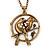 Burn Gold 'Love Birds' Pendant Necklace - 62cm Length/ 4cm Extension