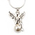Diamante/ Simulated Pearl 'Fairy' Pendant Necklace In Rhodium Plated Metal - 40cm/ 5cm Extension - view 4